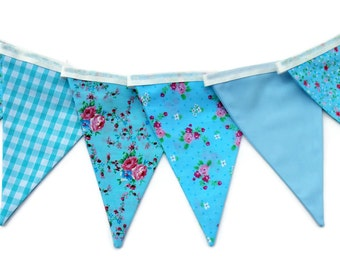 Floral vintage bunting - fabric bunting - blue bunting - shabby chic bunting - wedding bunting - party bunting  - spring bunting - summer bu