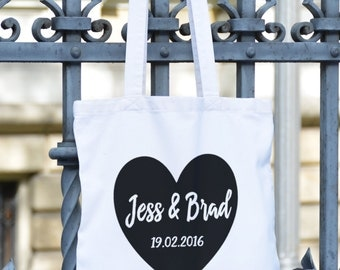Wedding Tote - Canvas Tote Bag - Bride Tote - Bride to Be - Wedding Bag - Heart bag- Personalised Tote Bag - Wedding Gift - Anniversary Gift