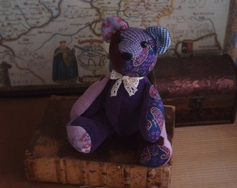 Articulated teddy bear soft sculpture. Purple and pink. Ecofriendly, made with upcycled materials. Art doll.