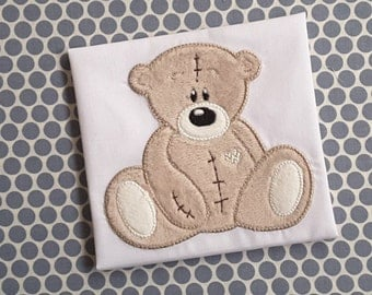 Baby Applique Machine Embroidery Design Tattered Teddy Bear