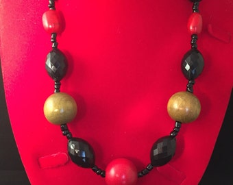 Olive and red wooden bead with black chiseled glass bead necklace