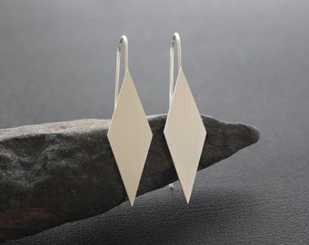 "Diamond shaped brushed silver earrings. Sterling silver diamond earrings. ""Modern Diamond Earrings - Large""."