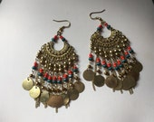 Multi Color Indian Coin Tassel Seed Bead Tribal Aztec Chandelier Moroccan Dangle Earrings