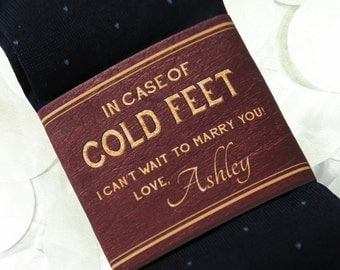 Custom Cold Feet Socks Label for Groom- Groom Gift on Wedding Day- Personalized Paper Wrapper with Embossed Effect- Grooms Socks Black/ Navy