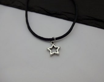 Star Choker Necklace, Charm Necklace, Black Cord Necklace, Star Necklace, Charm Choker, Star Choker, Star Gift