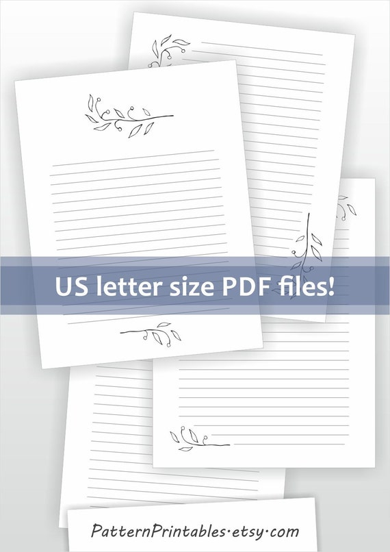 Printable letter writing paper Digital download for pdf file – Lined Letter Writing Paper