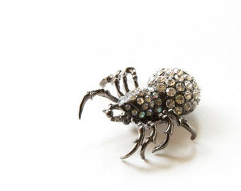Vintage Costume Jewelry Gothic Spider Brooch Pin with Rhinestones