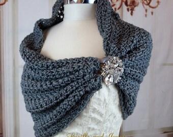 Grey Wedding Shrug  Shawl Stole With Rhinestone Brooch Closure Shoulder Wrap Bridesmaids Shrug Bridesmaids Portrait Shawl Crochet Knit
