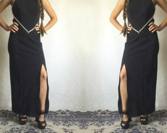 90s Black Rhinestone Backless Prom Dress // Vintage Homecoming Spaghetti Strap Low Back Dress // Size: S