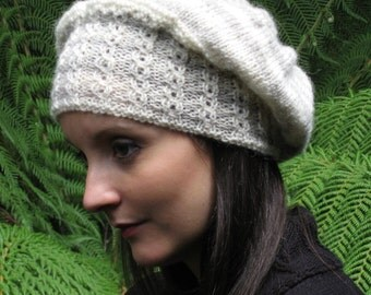 Vintage winter DK wool Beaded knitted beanie slouchy hat Knitting pattern  - DOWNLOAD PDF
