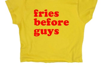 Fries Before Guys // Crop Top // Yellow // Slogan // S M L XL // Tumblr Instagram Blogger