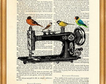 Sewing Machine with Birds, Vintage sewing Machine Dictionary Art Print, Wall Decoration, Home Decor, 8 x 10 inches