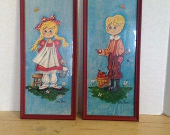 RARE Jack & Jill Framed Prints by Enda Vierra 1960s Pop Art