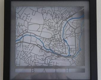 Bath Laser cut map - Grey