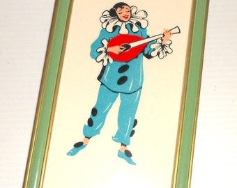 PIERROT 50s italy - Italian Carnival - vintage original frame with serigraphic print porcelain image mint