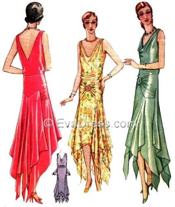 1920s Patterns – Vintage, Reproduction Sewing Patterns 1929 Evening Gown Pattern Set B (38 to 42