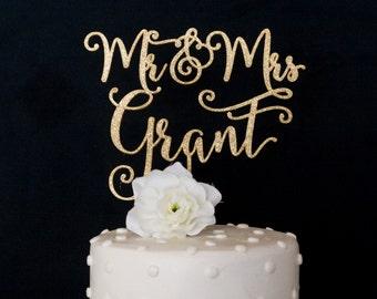 Custom Last Name Mr and Mrs Wedding Cake Topper