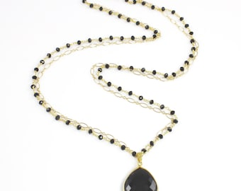 Large Black Spinel Pendant Double Strand Long Necklace