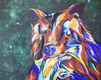 Bear Art. Fish Art. Original Acrylic Painting. Wildlife Art. Forest Animal Painting. Woodland Nursery Art. Woodland Painting