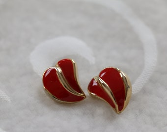 Stunning Red and Gold Tone Vintage Pierced Earrings