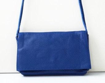 "Leather Handbag ""Noomi"" in blue, genuine leather. small shoulder bag"