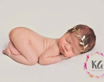 BOHO Baby Headband, Baby Girl Headband, Newborn Headband, Flower Girl Headband, Gold Headband, Newborn Baby Bows, Baby Girl Bow Headband