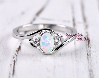 White Opal Ring, Silver Lab Opal Ring, Opal Wedding Band, Womens Opal Wedding Ring, Opal Engagement Ring, Promise Ring for Her