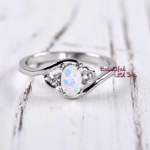 Opal Engagement Rings: White Opal Ring Silver Opal Ring Womens Dainty Opal Wedding