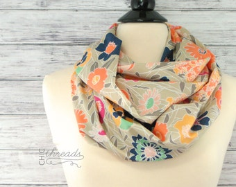 Infinity Scarf- Floral Infinity Scarf- Christmas Gift Idea for Her- Circle Scarf- Loop Scarf- Fall Infinity Scarf- Gift for Wife- Mint Scarf