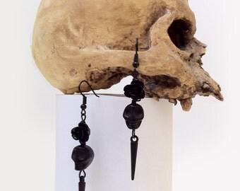 Day Of The Dead Earrings Skull Black Rose Dia De Los Muertos Memento Mori Gothic Horror Jewelry