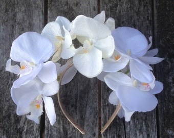 White Orchid Flower Crown
