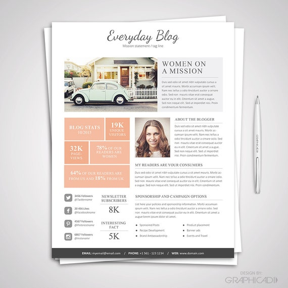 Blog media kit template ad rate sheet template press for Advertising media kit template