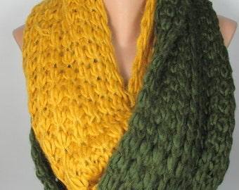 Knit Scarf Cozy Winter Scarf Wool Scarf Green Mustard Scarf Thick Warm Scarf Women Fashion Accessories Christmas Gift For Her For Women