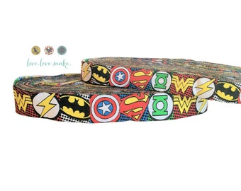 """7/8"""" & 5/8"""" Super Power-Woven-Jacquard-Ribbon by the Yard-Scrapbook-DIY-Wholesale-Embroidered-Trim-22mm"""