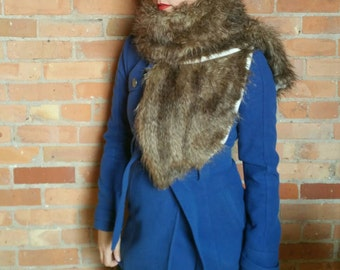 Faux fur scarf shawl wrap. Brown wolf faux fur. Rockabilly cover up, wedding bridesmaids shawl.