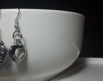 Silver heart and lock earrings