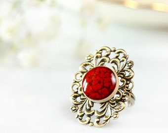 Red statement ring Big ring Red ring Bohemian ring Ceramic ring Clay ring Adjustable ring Victorian style Vintage style Romantic ring Long