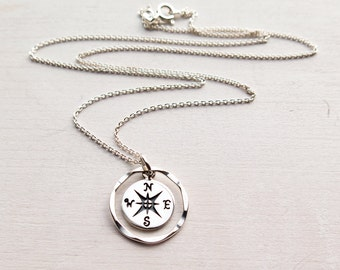 College Graduation Gift, Compass Necklace, Travel Jewelry, Wanderlust, Sterling Silver, Dainty, Minimalist Jewelry, Gift for Her