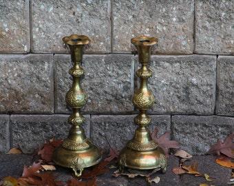 Pair of Polish Brass Sabbath Candlesticks By Izrael Szekman, Ca 1890, Judaica.