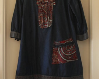 Re Fashioned Denim tunic, Paisley pin tuck front and pockets, embroidery detail over hem, bohemian look