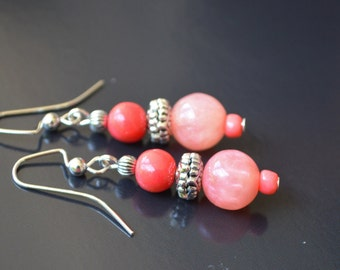 FREE SHIPPING, coral pink earrings, pink coral earrings, coral earrings, coral jewelry, pink dangle earrings, coral pearl earrings