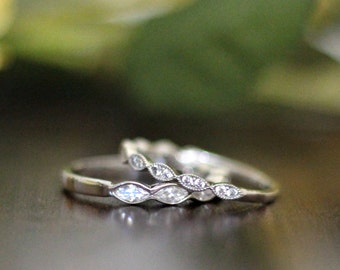 0.75 ct.tw Art Deco Matching Half Eternity Ring Sets-Brilliant Marquise Cut Diamond Simulants-Stacking Ring Sets-Sterling Silver [61434-2H]