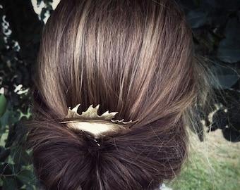 Oak Leaf Hair Comb Gold Oak Leaf Hair Comb Leaf Wedding Hair Bridal Hair Comb Bridal Headpiece Wedding Accessories Garden Weddings Woodland