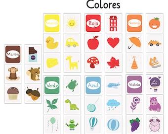 flash card colors, colors nursery , spanish colors, flash cards printable, kids art room, color flash card, color nursery print,colors print