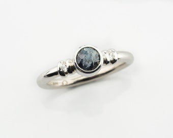 Teal Blue spinel ring, Blue spinel ring, blue stones rings, Gemstone rings, teal blue gemstone white gold ring, natural teal blue spinel