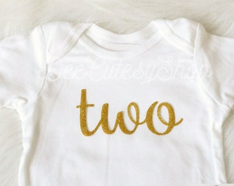 Two Iron On, Gold, Gold Two, Iron, DIY, Iron-On Heat Transfer, Glitter, 2nd Birthday, Baby Girl, Gold 2, Second Birthday