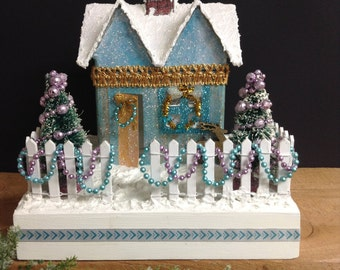 Lavender and Blue Glitter House Putz House Christmas Decoration Christmas Centerpiece Holiday Tabletop Decoration