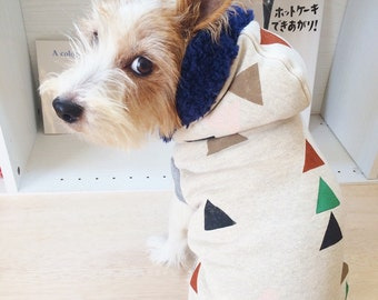"""Dog Clothes Dog Hoodie """"Triangle"""" Hand Painted Ivory"""