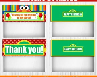 50% OFF SALE Elmo Treat bag toppers, Instant Download, pdf jpg, Party Birthday - Sesame Street