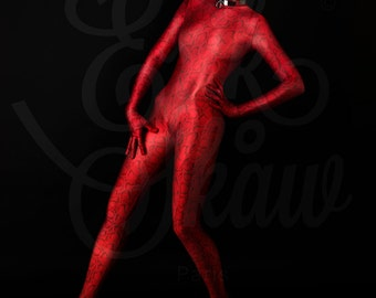Catsuit overall Zentaï red printed snake skin in shiny lycra® spandex made to mesure